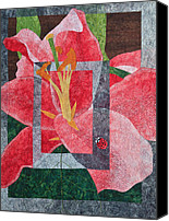 Art Quilt Tapestries - Textiles Canvas Prints - Stargazer Lilly Canvas Print by Patty Caldwell