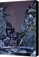 Snowy Night Canvas Prints - Starry Creek Canvas Print by Brandon Broderick