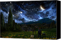 Landscape Canvas Prints - Starry Night Canvas Print by Alex Ruiz