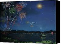 American Flag Pastels Canvas Prints - Starry Night at Crooked Creek Marina Canvas Print by Jackie  Hill