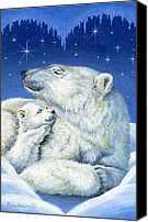 Night Canvas Prints - Starry Night Bears Canvas Print by Richard De Wolfe