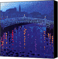 Decorative Art Canvas Prints - Starry Night In Dublin Canvas Print by John  Nolan