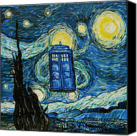 Tardis Canvas Prints - Starry Tardis Canvas Print by Sabrina Zbasnik