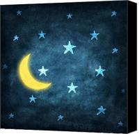 Textured Canvas Prints - Stars And Moon Drawing With Chalk Canvas Print by Setsiri Silapasuwanchai