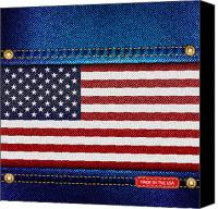 Badge Canvas Prints - Stars and Stripes denim Canvas Print by Jane Rix