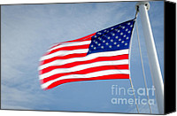 Flagpole Canvas Prints - STARS AND STRIPES flagpole and waving USA flag Canvas Print by Andy Smy
