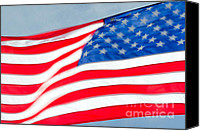 Stars And Stripes Canvas Prints - STARS AND STRIPES waving USA flag in a strong wind Canvas Print by Andy Smy