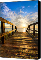 Tide Canvas Prints - Start of the Day Canvas Print by Debra and Dave Vanderlaan