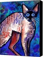 Austin Pet Artist Canvas Prints - Startled Cornish Rex Cat Canvas Print by Svetlana Novikova