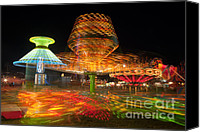 America Canvas Prints - State Fair Rides at Night I Canvas Print by Clarence Holmes