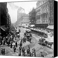 Crowd Scene Canvas Prints - State Street - Chicago Illinois - c 1893 Canvas Print by International  Images