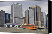New York Skyline Special Promotions - Staten Island Ferry approaching dock Canvas Print by John Van Decker