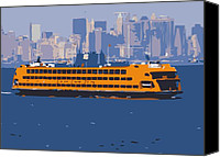 Nyc Fire Escapes Canvas Prints - Staten Island Ferry Color 16 Canvas Print by Scott Kelley