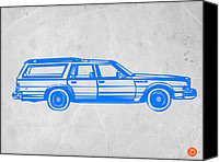 Funny Drawings Canvas Prints - Station Wagon Canvas Print by Irina  March