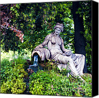 Photomanipulation Photo Canvas Prints - Statue in the woods Canvas Print by Fabrizio Troiani