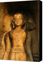 Sat Canvas Prints - Statue Of A Goddess At Wat Pa Sat Canvas Print by Anne Keiser