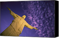 Twilight Views Canvas Prints - Statue Of Jesus Christ Against Twilight Canvas Print by Michael Melford