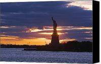 New York Harbor Canvas Prints - Statue of Liberty at Sunset Canvas Print by Jeremy Woodhouse