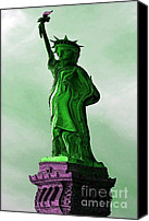 Caricature Canvas Prints - Statue of Liberty Caricature Canvas Print by Sophie Vigneault