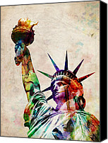 Cities Digital Art Canvas Prints - Statue of Liberty Canvas Print by Michael Tompsett