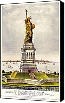 New York Harbor Canvas Prints - Statue Of Liberty Canvas Print by Pg Reproductions