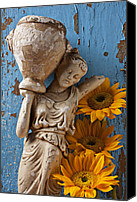 Sunflowers Canvas Prints - Statue of woman with sunflowers Canvas Print by Garry Gay