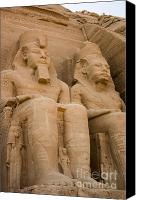 Ruins Canvas Prints - Statues at Abu Simbel Canvas Print by Darcy Michaelchuk