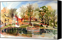 Picturesque Mixed Media Canvas Prints - Ste. Marie du Lac with Gazebo and Pond II Canvas Print by Kip DeVore