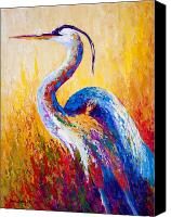 Blue Painting Canvas Prints - Steady Gaze - Great Blue Heron Canvas Print by Marion Rose