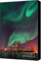 Northern Photo Canvas Prints - Steamboat Under Northern Lights Canvas Print by Priska Wettstein