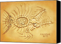 Machine Reliefs Canvas Prints - Steamfish 2 Canvas Print by Baron Dixon