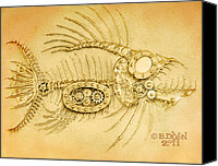 Machine Reliefs Canvas Prints - Steamfish 3 Canvas Print by Baron Dixon