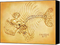Machine Reliefs Canvas Prints - Steamfish 4 Canvas Print by Baron Dixon