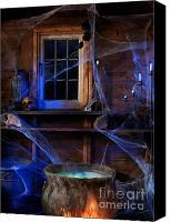 Haunted House Photo Canvas Prints - Steaming Cauldron in a Witch Cabin Canvas Print by Oleksiy Maksymenko