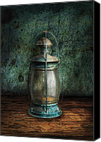 Greenish Canvas Prints - Steampunk - An old lantern Canvas Print by Mike Savad