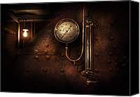 Machine Canvas Prints - Steampunk - Boiler Gauge Canvas Print by Mike Savad