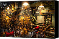 Cyber Canvas Prints - Steampunk - Naval - The torpedo room Canvas Print by Mike Savad