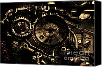 Chambers Canvas Prints - Steampunk Personal Decompression Chamber Model 39875DA78803 Fully Accessorized . Gold Plated Luxury  Canvas Print by Wingsdomain Art and Photography
