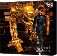 Rosy Hall Digital Art Canvas Prints - STEAMPUNK The Gentleman Assassin Canvas Print by Rosy Hall