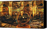 Minute Digital Art Canvas Prints - Steampunk Time Lab Canvas Print by Jutta Maria Pusl