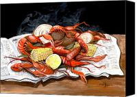 Lemon Painting Canvas Prints - Steamy Crawfish Canvas Print by Elaine Hodges