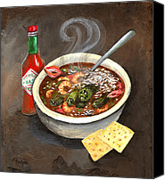 Louisiana Seafood Canvas Prints - Steamy Okra Gumbo Canvas Print by Elaine Hodges