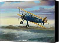 Morning Canvas Prints - Stearman Biplane Canvas Print by Stuart Swartz