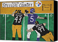 Safety Painting Canvas Prints - Steelers Country Canvas Print by Jeffrey Koss