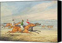 Track Racing Canvas Prints - Steeplechasing Canvas Print by Henry Thomas Alken