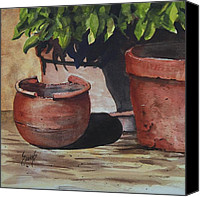 Flower Pots Canvas Prints - Stephanies Pots Canvas Print by Sam Sidders