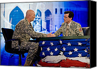 Second Gulf War Canvas Prints - Stephen Colbert Interviews Marine Canvas Print by Everett