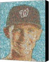 Washington Nationals Canvas Prints - Stephen Strasburg Card Mosaic Canvas Print by Paul Van Scott