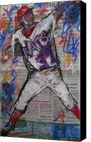 Baseball Pastels Canvas Prints - Stephen Who Canvas Print by Mary Gallagher-Stout