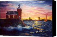 Lighthouse Canvas Prints - Steppingstones Light Canvas Print by Marguerite Chadwick-Juner
